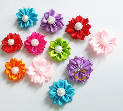 10pc Handmade Flower Pet Hair Bows Rubber Bands Small Dogs Grooming Accessories