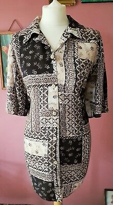 Vintage womens 90s oversized blue and beige multi pattern shirt