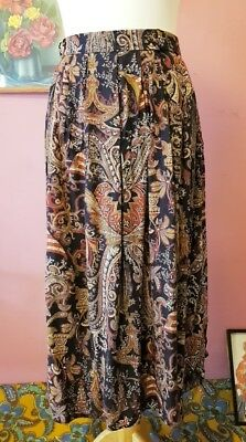 Vintage womens 80s dark florals/paisley elasticated skirt