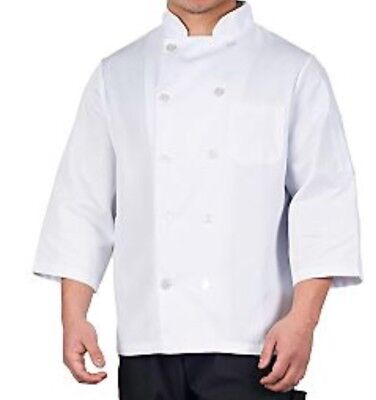 Men's White Classic 3/4 Sleeve Chef Coat - Sizes: L-XL-2XL New KNG