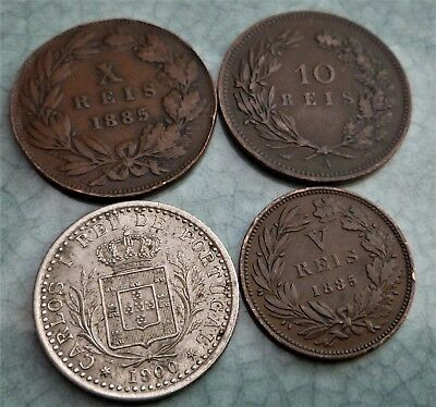 4 X Old Coins From Portugal