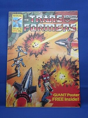 Marvel The Transformers UK Weekly Comic #45 25th Jan 1986 with FREE Giant Poster