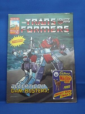 Marvel The Transformers UK Weekly Comic #29  5th Oct 1985 with Free Giant Poster