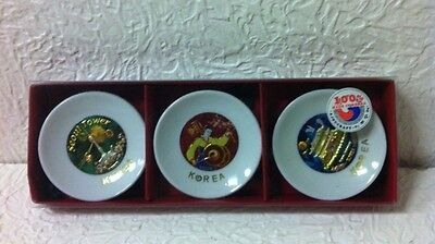 Set Of 3 Korea Minature Plates/fridge Magnets Brand New In Box
