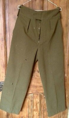 """True vintage army trousers 1960s, w 33"""", 1940s, WW2 enactment, high waisted ,"""