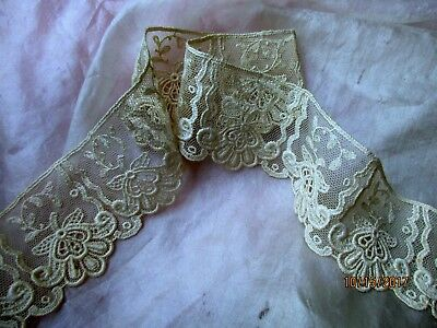 """ANTIQUE EMBROIDERED SCALLOPED FLOWER COTTON LACE TULLE TRIM CREAM 36"""" x 2 1/16"""""""