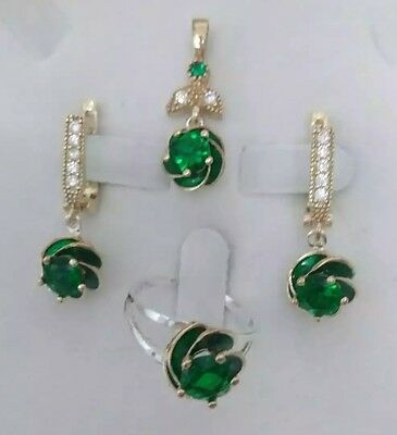 925 Sterling Silver Handmade Jewelry Green Topaz Accented Lady Sets Sz 8.5