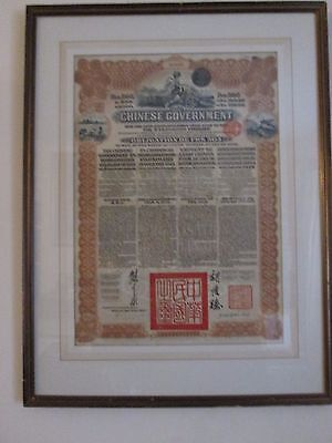 Antique Chinese government £20 bond drawn from French bank 1913 with coupons