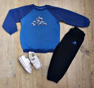 Adidas Converse Baby Boys Outfit Tracksuit Blue Joggers Jumper Shoes 12-18 M
