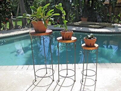 Set of Three Wrought Iron And Hammered Copper Plant Stands, Display Tables