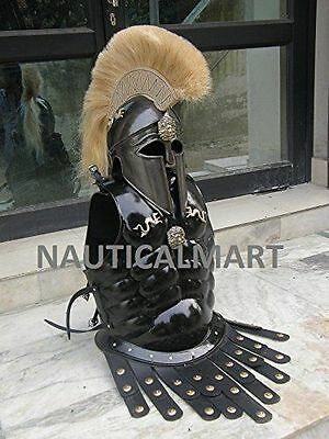 Greek Royal Muscle Armor Cuirass with Corinthian Helmet Halloween Costume XDER