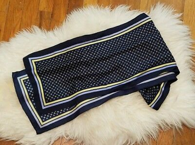 Lands End Chase Bank Uniform Womans Silk Scarf Blue Yellow 60 inches long