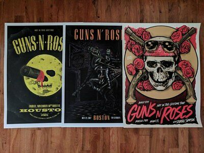 Guns N' Roses Prints 2 MIAMI & 1 LITTLE ROCK Poster PACKAGE DEAL ALL 3