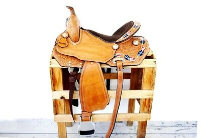 """16"""" One Of A Kind Usa Feather  Leather Barrel Show Horse Trail Western Saddle"""