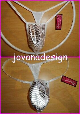 jovanadesign Smallest Micro Mens String, SILVER SNAKE HOLOGRAM, Seamless XS-XL