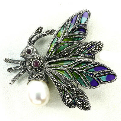 Awesome Creamy White Pearl Marcasite Ruby 925 Sterling Silver Enamel Bee Brooch