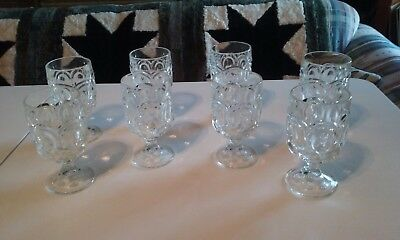 Vintage lot 8 Eight L.E. Smith Moon And Stars Clear Glass Water Goblets
