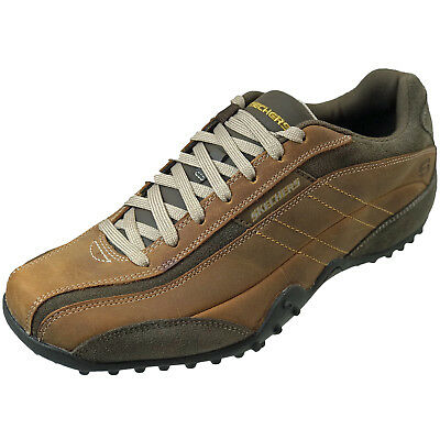 6f3f03e4f6dd Skechers Urban Track Imperial Men s Casual Leather Shoes Brown Memory  Trainers