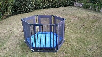 Lindam safe and secure metal frame playpen blue fabric