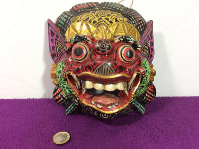 Hand Carved Wooden Mask Barong Hindu Balinese Gold Leaf