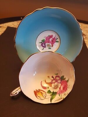 Vintage Paragon Cup & Saucer Double Gold Stamped Label Pink Rose Floral Wide