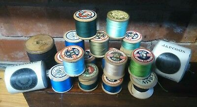 19 mixed vintage wooden cotton bobbins