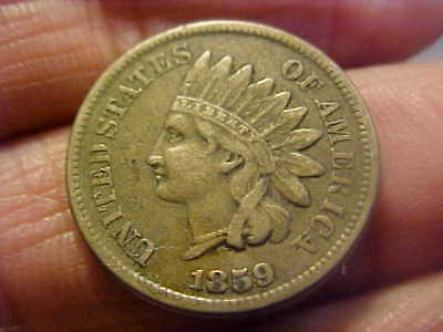 1859 Cn  Indian Head Cent   Nice Original  Vf - Xf Quality Coin