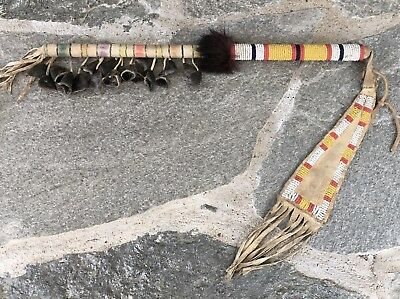 Old 1920-1930's Plains Indian / Sioux Beaded Dew Claw Dance Wand Rattle
