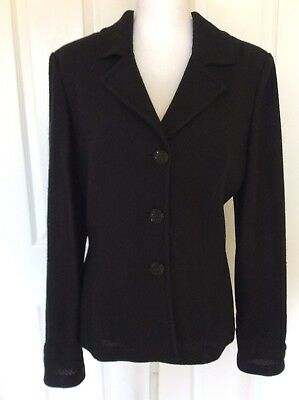 St. John Caviar Jacket Black Knit Sparkle Thread Satin Back Sz 12 NWT