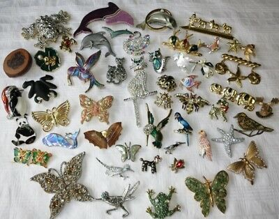 VINTAGE FIGURAL ANIMAL BROOCH PIN JEWELRY LOT Frog Cat Dog JELLY BELLY 51 pcs