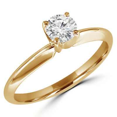 .33 Ct Si1 Round Diamond Solitaire Engagement Ring 14K Yellow Gold