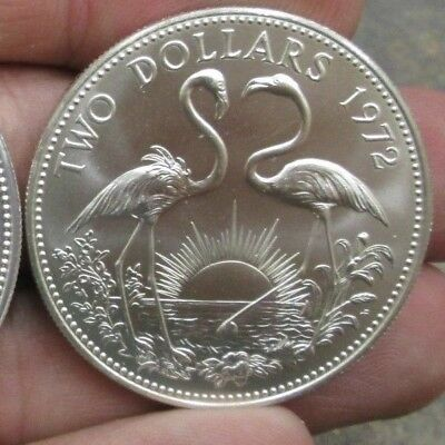 1972 Bahama Islands Two Dollars BU/UNC Silver Coin No Reserve