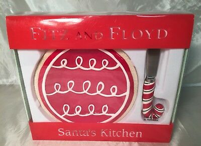 """Adorable Fitz & Floyd """"Santa's Kitchen"""" Red Ornament Snack Plate & Spreader NEW"""
