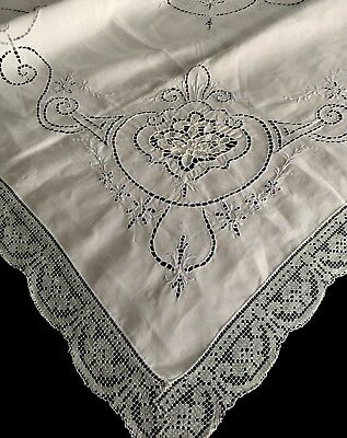 Beautiful Antique Cutwork Embroidered Tablecloth