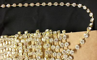 Trims 4483 Golden Silver Crystal Lace Craft Trim Embellishment Shieno