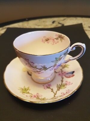 Vintage Tuscan Fine Bone English China Pink Cup & Saucer Butterfly Pattern Gilt