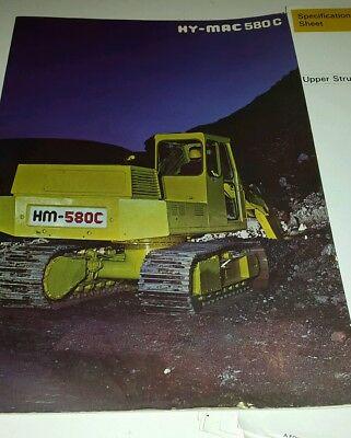 Hy-mac Hymac 580c excavator sales brochure and related paperwork.