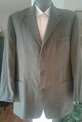 VINTAGE PIERRE CARDIN MENS Green Check 3 BTN WOOL SPORT COAT BLAZER JACKET