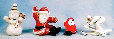 Santa Claus Snowman Skier Accordian Christmas Figurines 4 Vintage Decorations