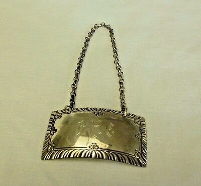 Williamsburg Stieff Sterling Decanter ID Hanging Label Engraved Initials Marked