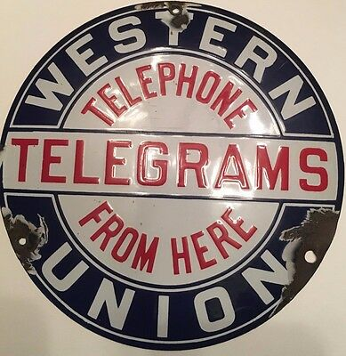 Very Early WESTERN UNION PORCELAIN SIGN Telephone Telegrams ORIGINAL SSP