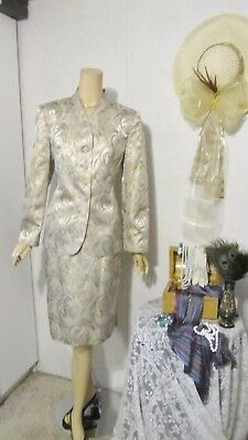 Mother Of The Bride Dress by Sag Harbor-Size 12 Gold/Silver Skirt Suit