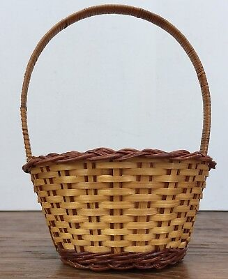 """Vintage Small Woven Open Detailed Handle Carrying Display Basket 8 x 5.5"""" China"""