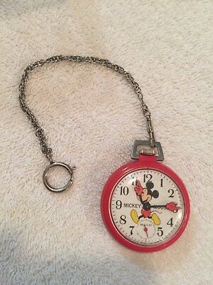 One of a kind Walt Disney Cast Mickey Mouse red pocket Watch with fob
