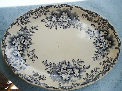 """Old Vintage Blue and White Transferware Platter Floral Scrolls 14"""""""