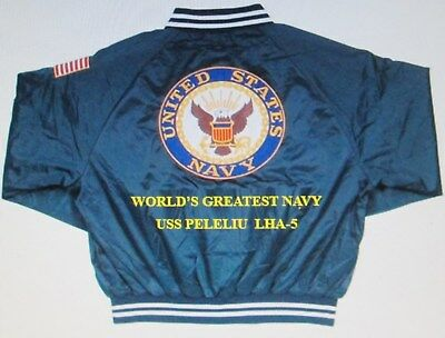 Uss Peleliu  Lha-5  Navy Anchor Embroidered 2-Sided Satin Jacket