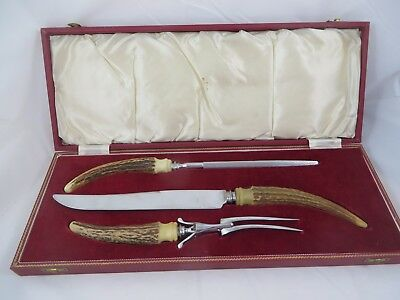 Vintage Birks Carving Set 3 Pieces Knife Fork Sharpener Sheffield England Horn