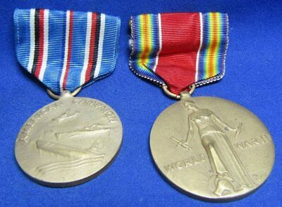 WWII American Campaign & Freedom Victory Medals and Ribbons Lot Of 2