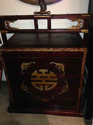 Antique Chinese Wedding Dowry Boxes Carrier Stackable Hand Made Chest Iron Wood