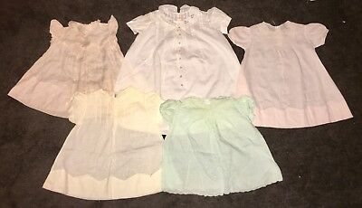 Lot of 5 Antique Vintage Baby Dresses, InsideTags-Hand Made